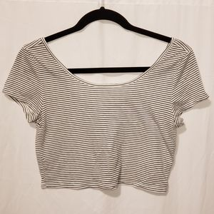 AEO | striped short sleeve crop top